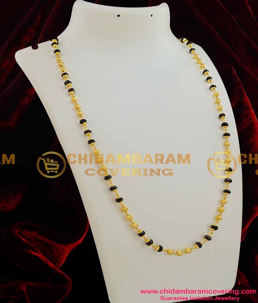 CHN008-LG - 30 inches Single Line Gold Plated Mangalsutra Chain (Karugamani Chain)