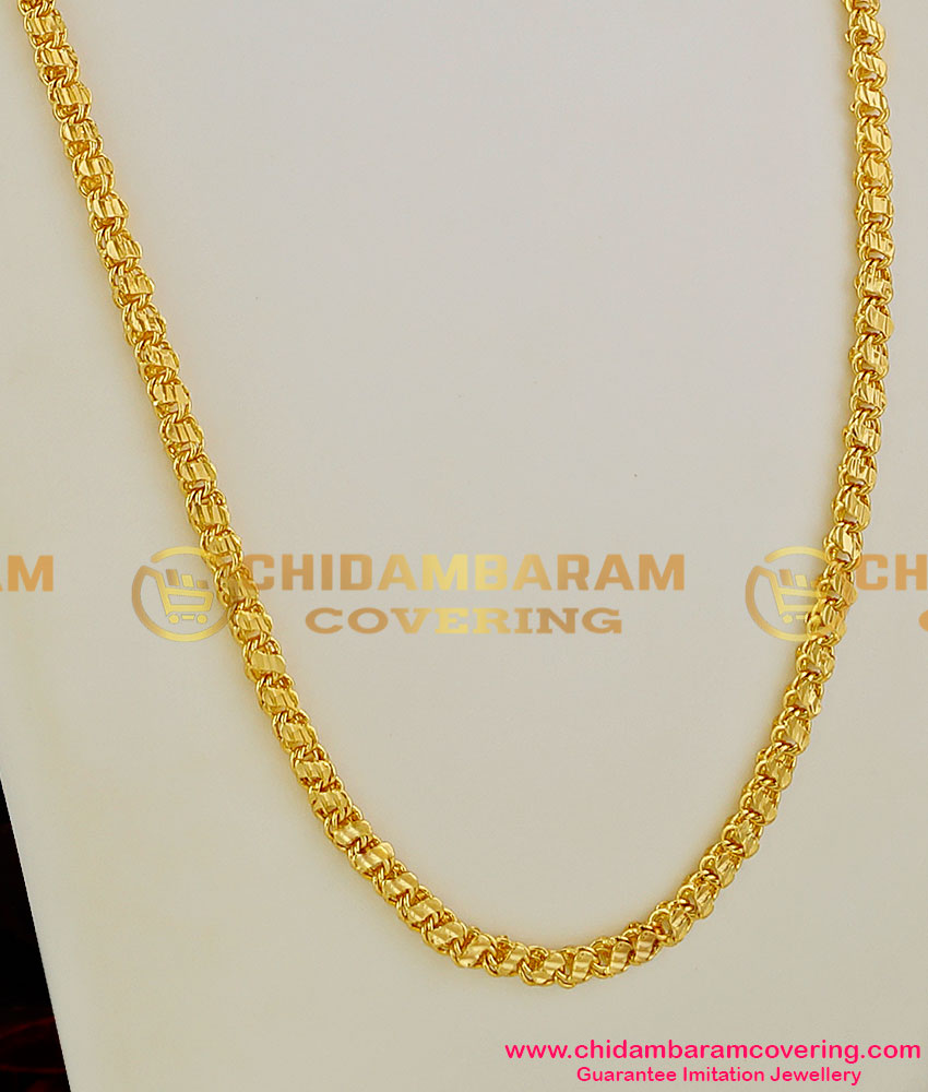 CHN011 - Gold Plated Leaf Cut S-Plate Design Thick Designer Chains for Women & Girls