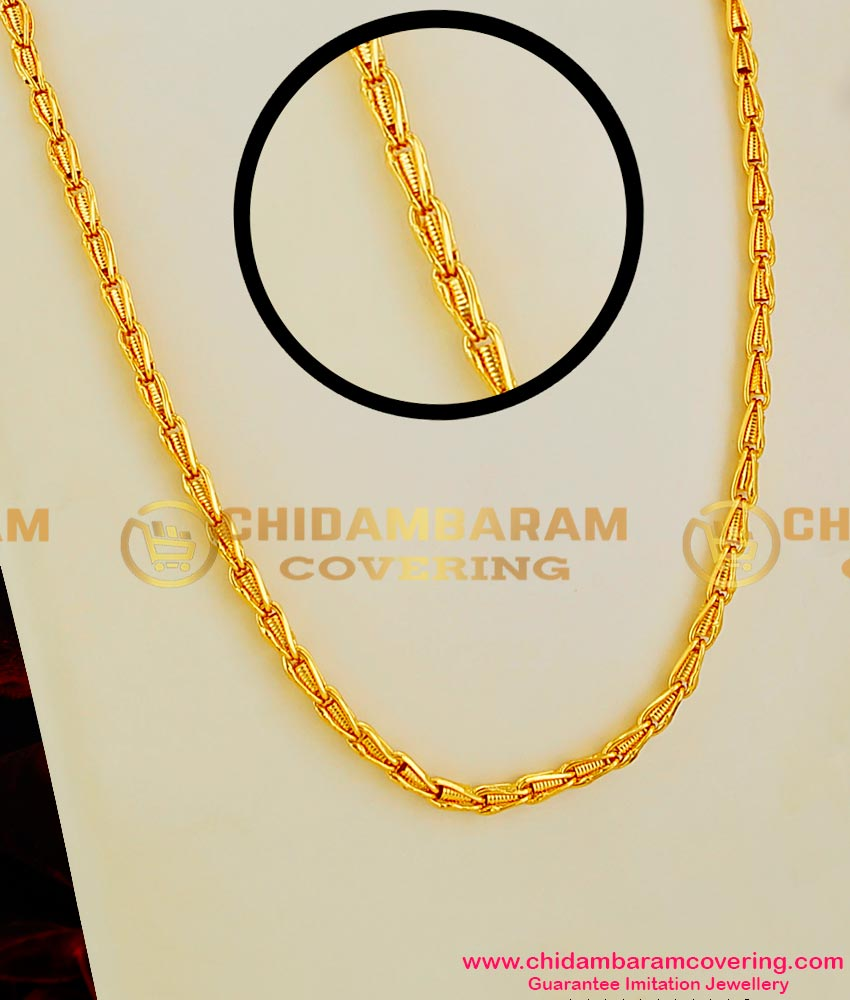 Chn014 Gold Like Interlocked Spring Design Long Chain Fashion Jewellery Online Buy Original Chidambaram Covering Product At Wholesale Price Online Shopping For Guarantee South Indian Gold Plated Jewellery