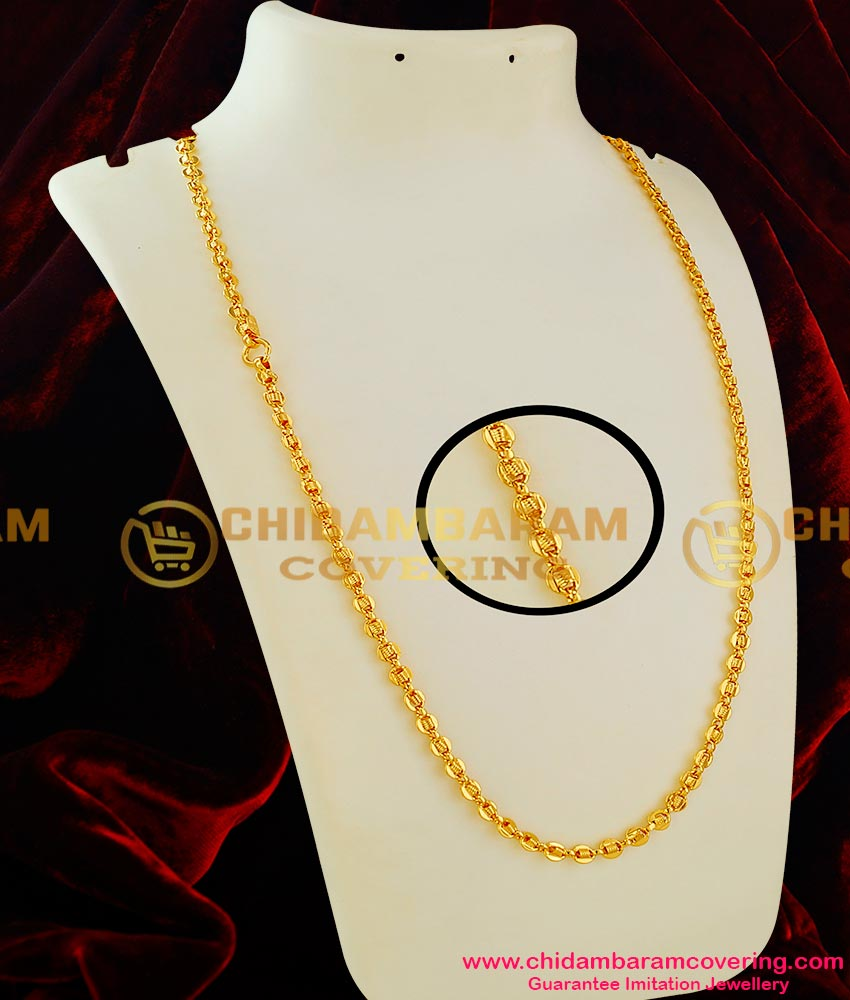 CHN016 - Thick Plate Interlocked Spring Design Long Chain Guarantee Jewellery Online