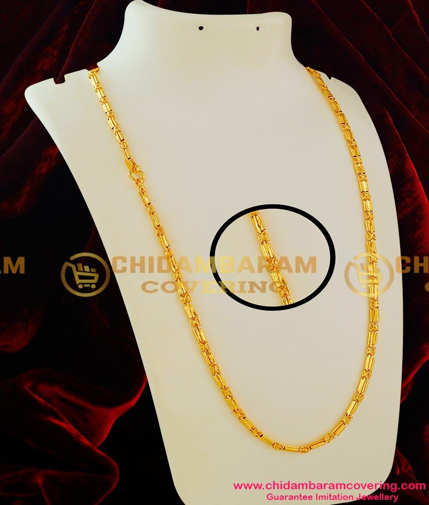 CHN017 – Traditional Kerala Full Plain Spring Design Long Chain Guarantee Jewellery Online