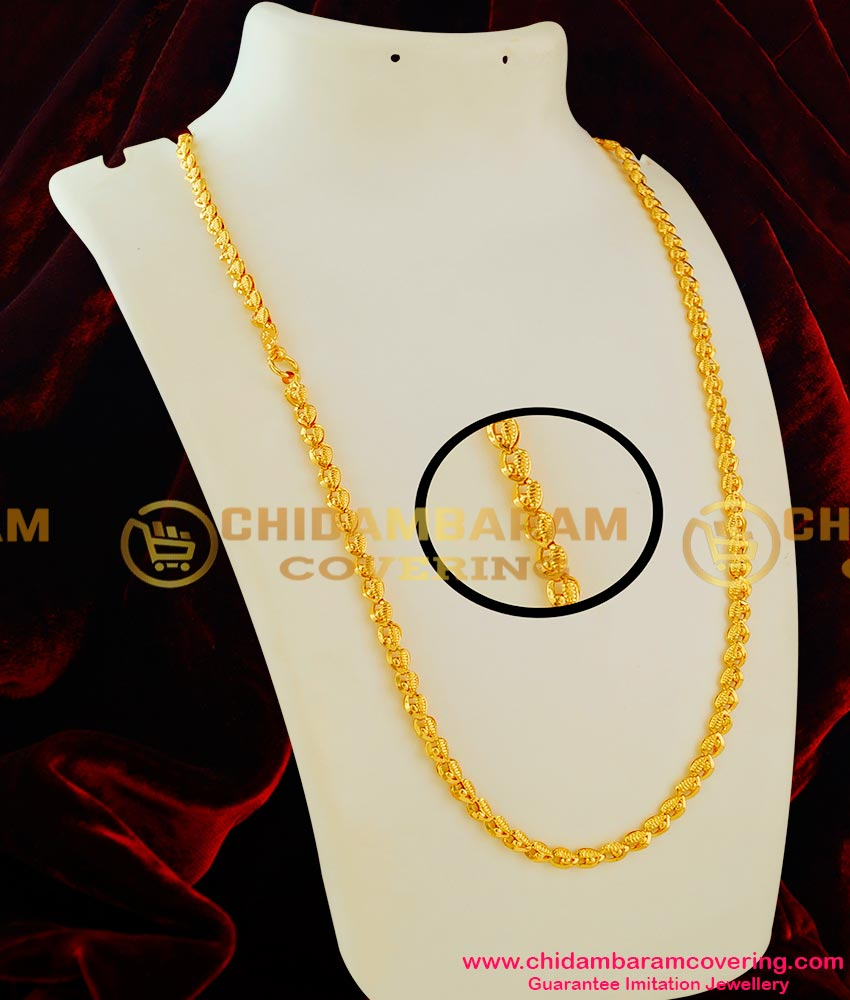 CHN021 - Gold Plated Long Chain Light Petal and Gold Balls Design Chidambaram Gold Covering Online