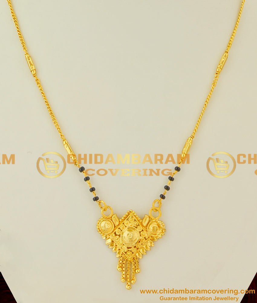 CHN025 - Beautiful Maharashtrian Mangalsutra Designs with Black Crystal for Women in Trend