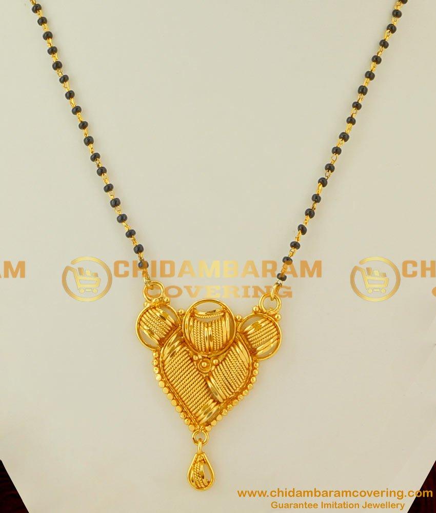 CHN028 - Short Chain Mangalsutra Design Black Crystal Karishma Chain with Plain Pendant