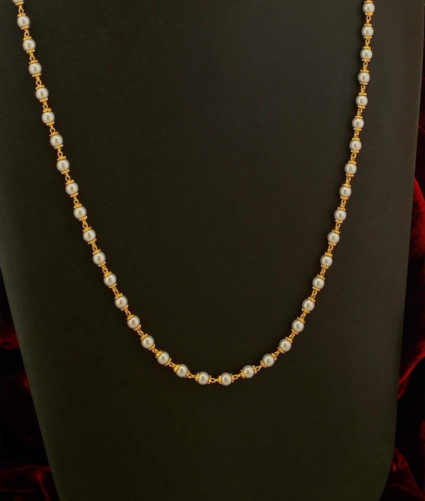 CHN032 - Trendy One Gram Gold Pearl Chain (Pearl Mala) Designs Best Price Online