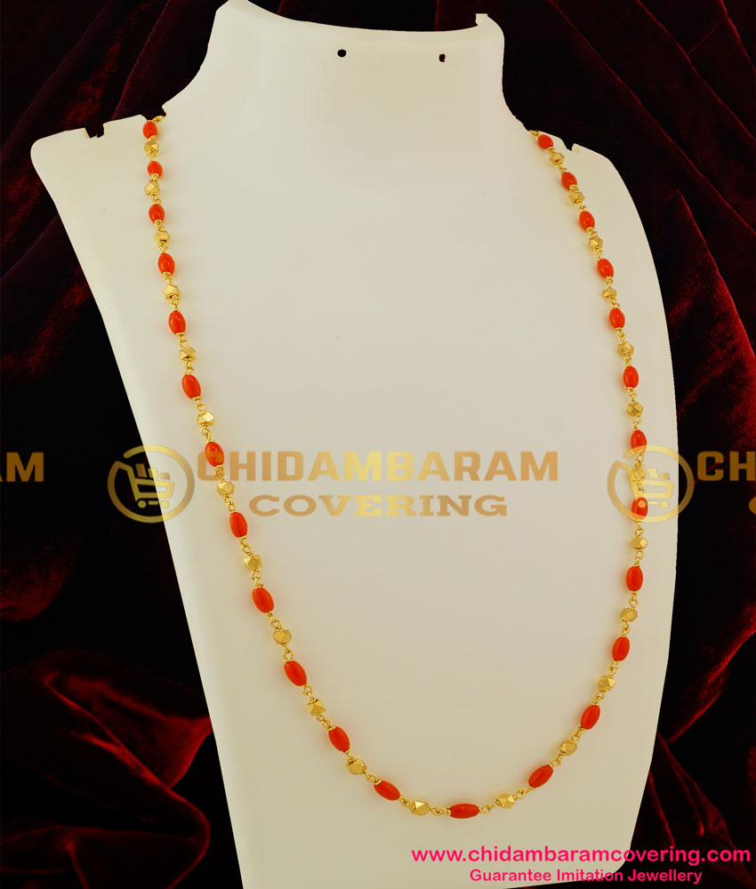 CHN034 - Gold Plated Coral Chain Design Daily Wear Online