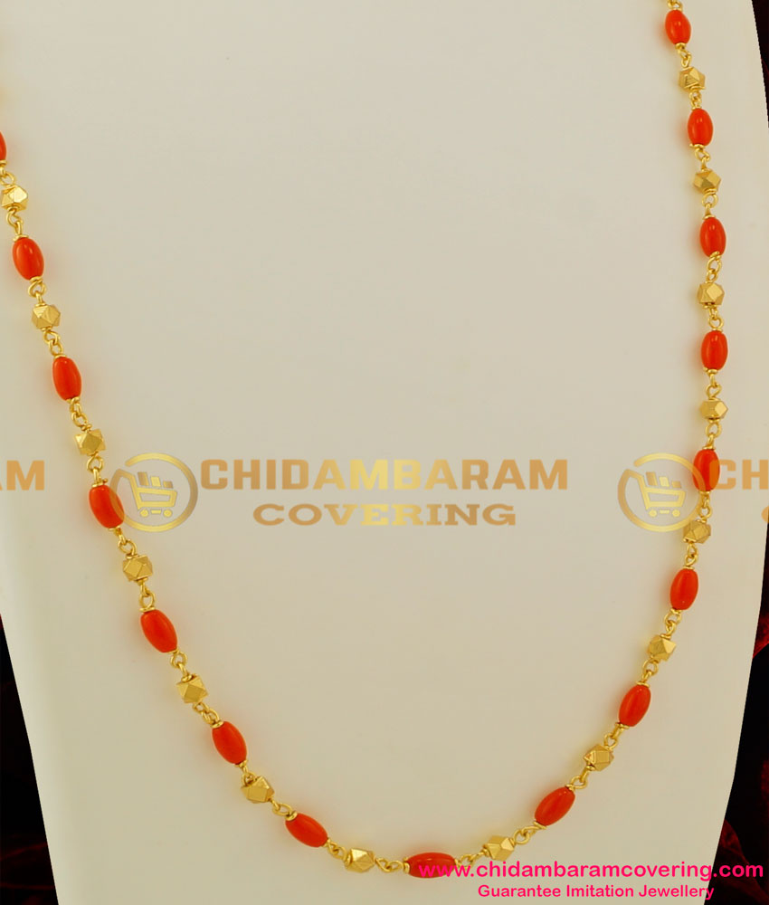 Chn034 Gold Plated Coral Chain Design Daily Wear Online Buy Original Chidambaram Covering Product At Wholesale Price Online Shopping For Guarantee South Indian Gold Plated Jewellery