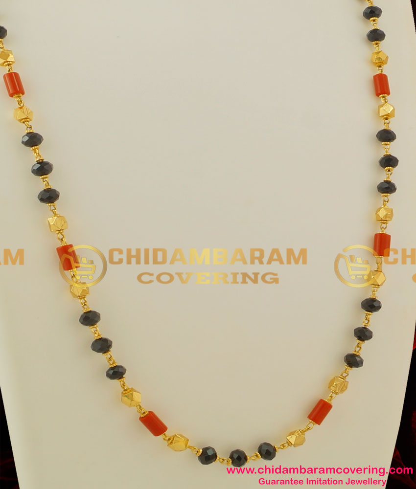 CHN035 - Traditional Gold Plated Mangalsutra Chain (Karugamani,Pavalamani, Chain)