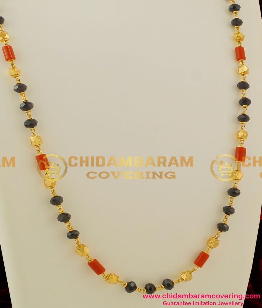 CHN035 - Traditional Gold Plated Mangalsutra Chain (Karugamani,Pavalamani, Chain)