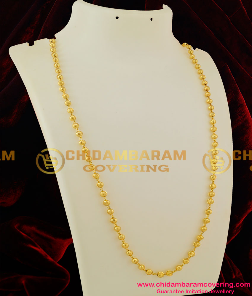 Chn037 Lg 30 Inches Long Gold Balls C Cutting Gold Plated South Indian Chain Design Online Buy Original Chidambaram Covering Product At Wholesale Price Online Shopping For Guarantee South Indian