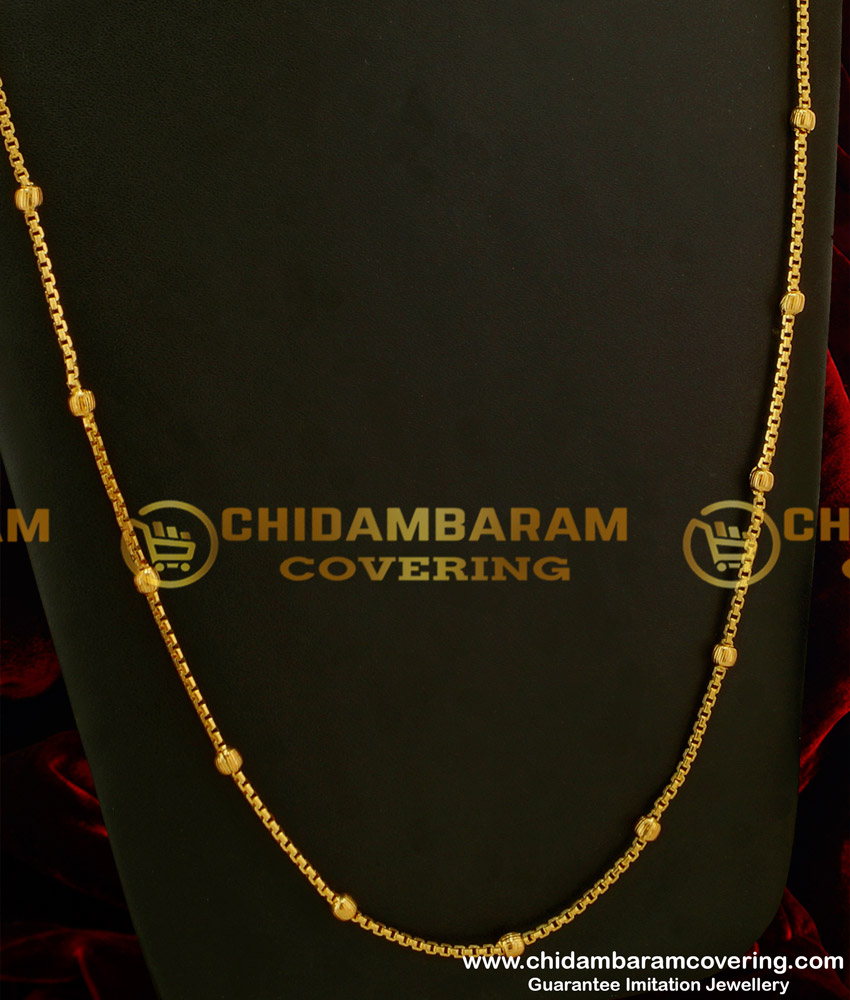CHN045-LG - 30 Inches Long Gold Balls Gold Plated South Indian Chain Design Online