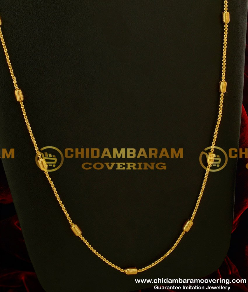 CHN046 - Daily Wear Light Weight Cylinder Shape Design Long Chain Buy Online