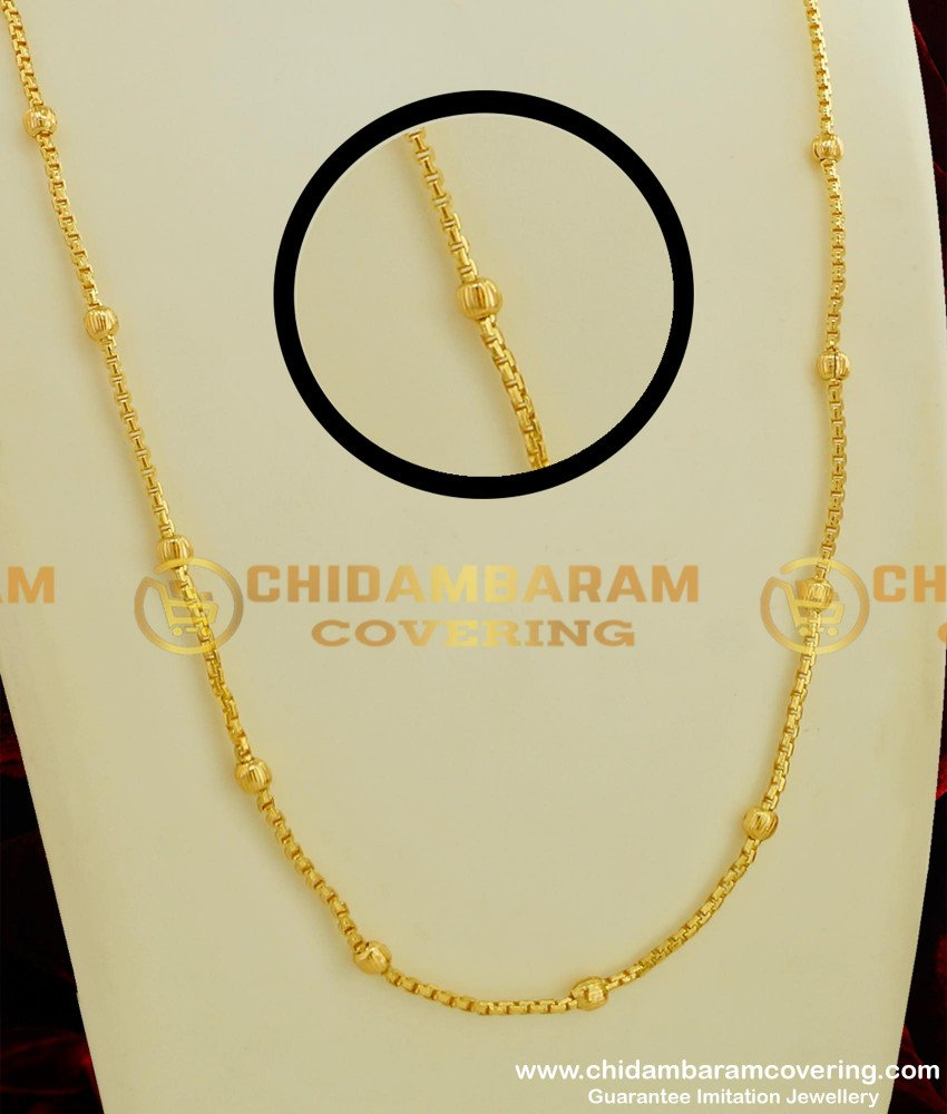 CHN063 - Trendy Ball Chain Daily Wear One Gram Gold Light Weight Chain Collection