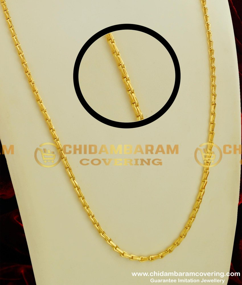 CHN066-LG - 30 inches Long One Gram Wheat Chain Gold Design Plain Chain for Men and Women