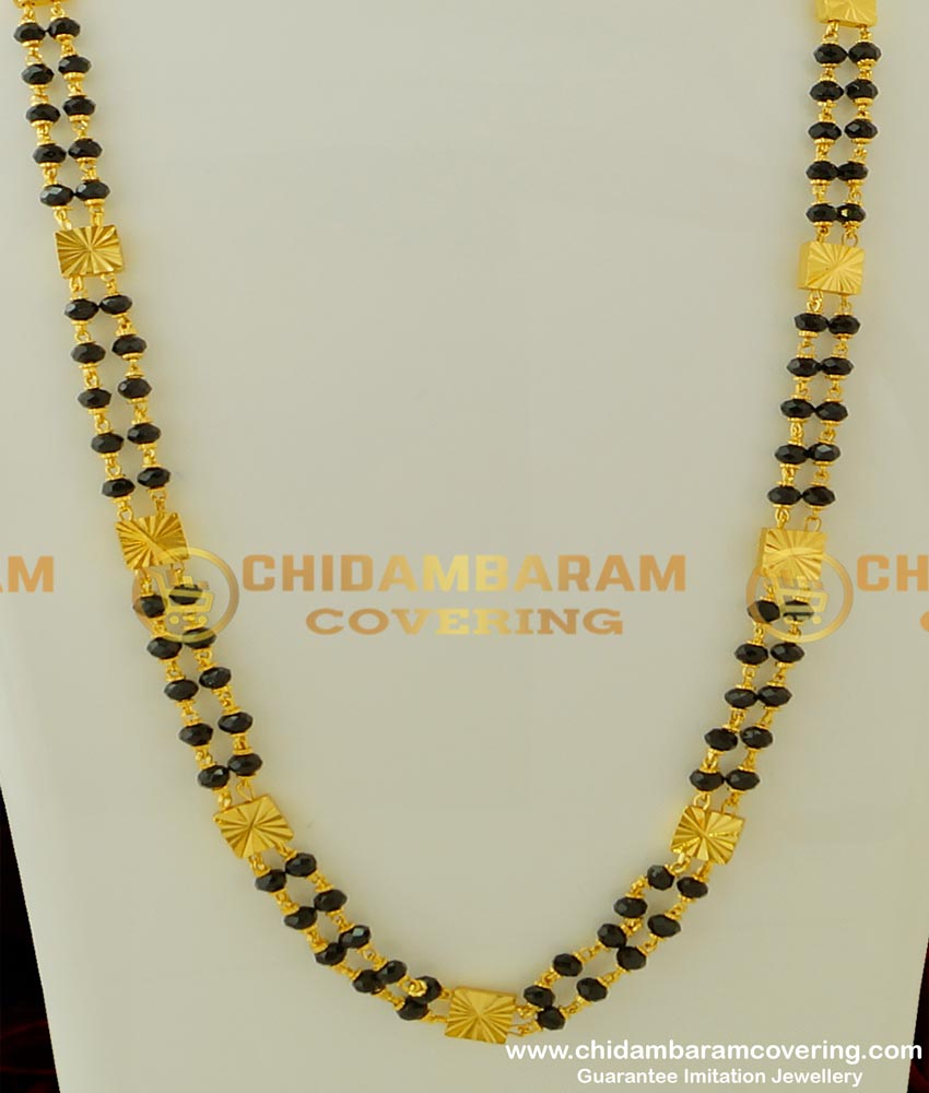 CHN069 - Designer Double Line Gold Black Crystal Chain Black Beads Two Line Chain Online