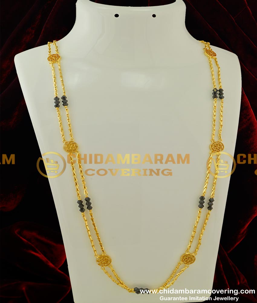 CHN070-LG - 30 Inches Long Rettai Vadam Black Crystal Glass Cutting Chain with Flower Design Connector Two Line Chain Online