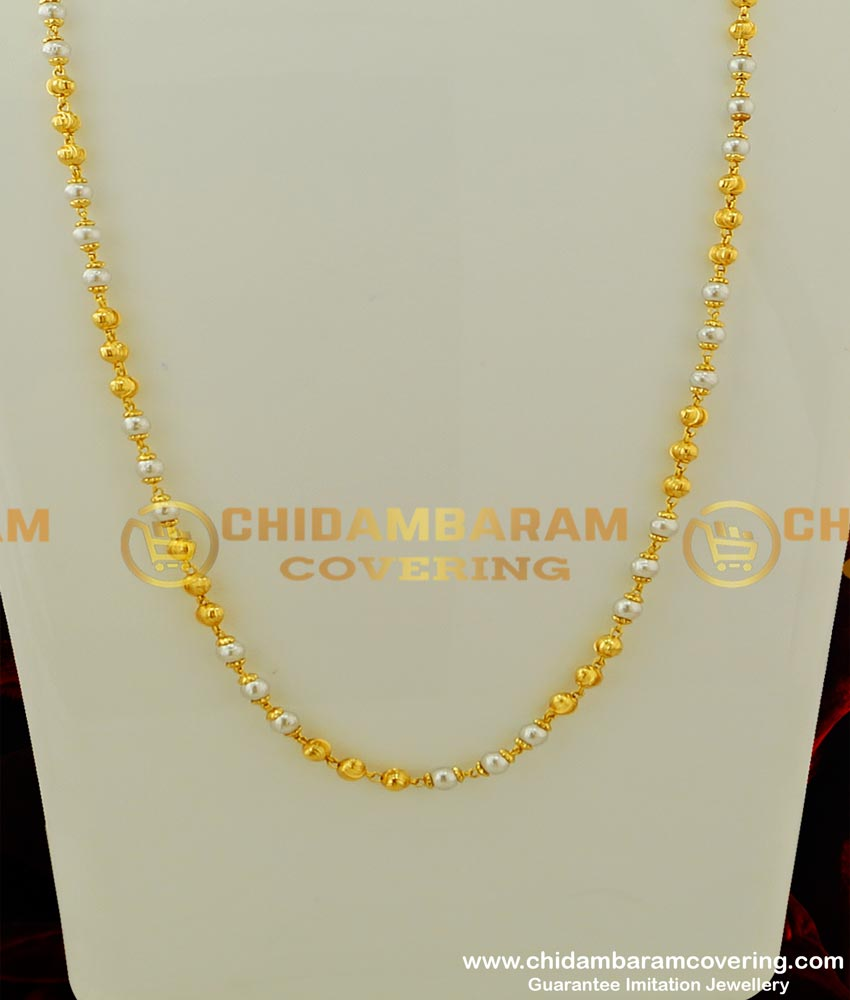 CHN072 - Traditional One Gram Gold Pearl Chain (Pearl Mala) Designs Best Price Online