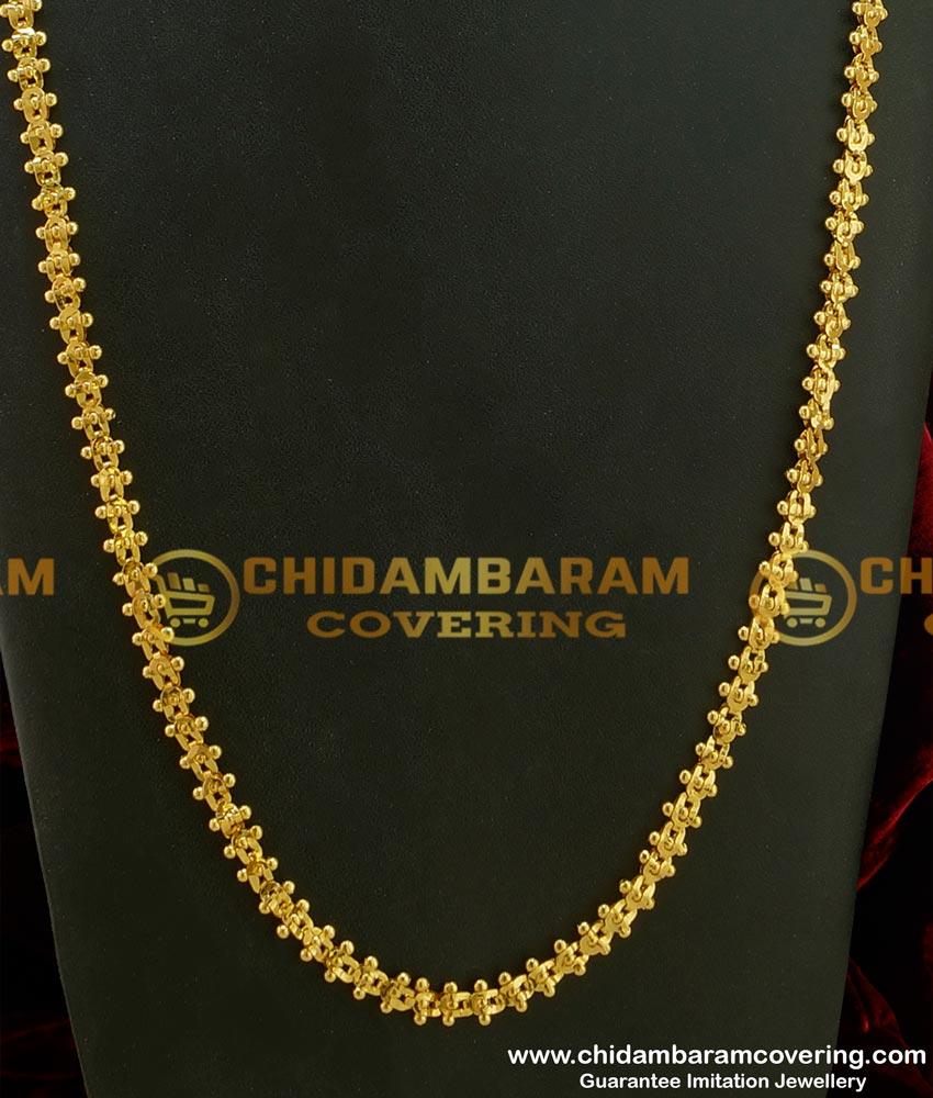 CHN082 - LG-30 Inches Traditional Design One Gram Gold Annamalai Chain Design Guarantee Chain Buy Online