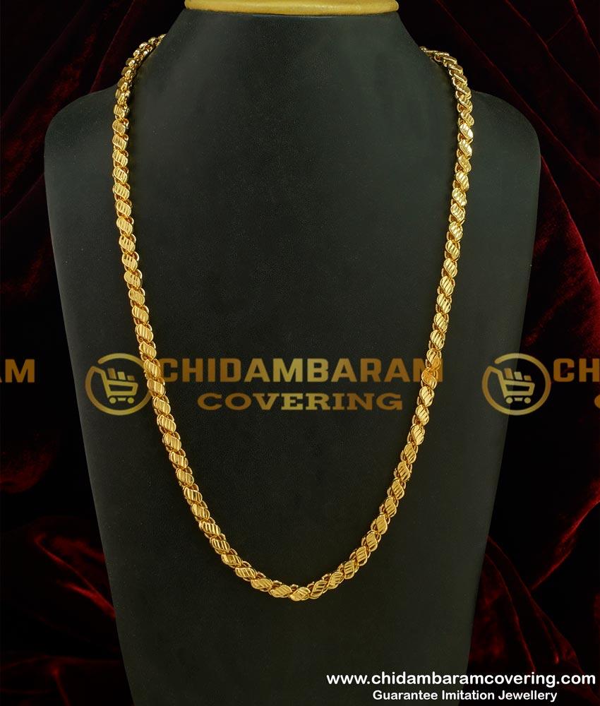 CHN083 - LG-30 Inches Long Chain Chidambaram Covering Gold Plated Grand Look Designer Cut Sundari Chain Design Online