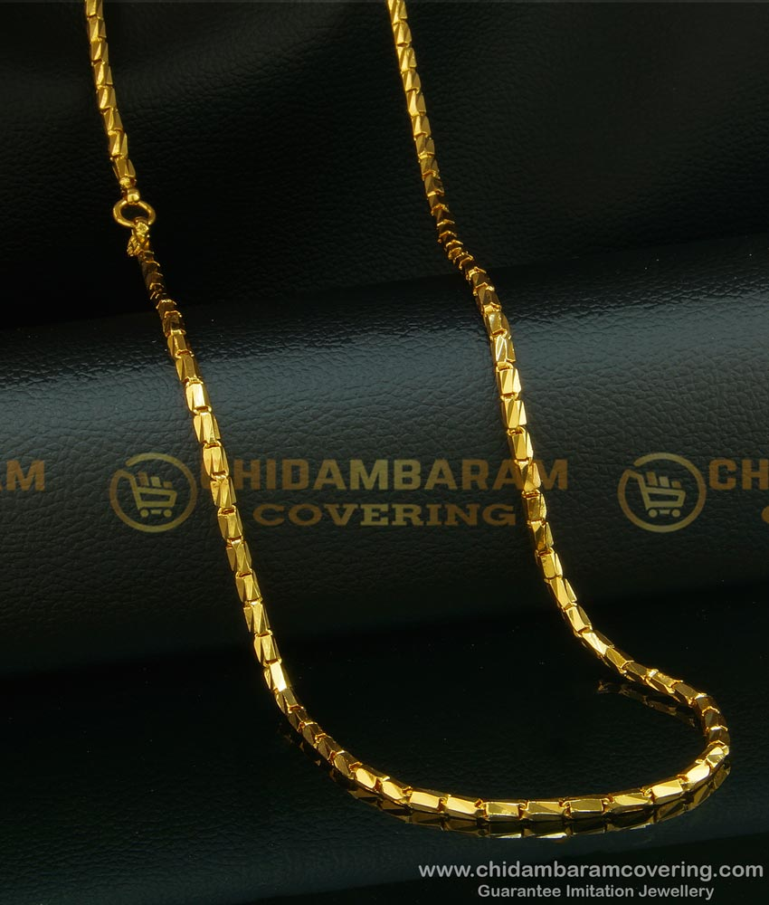 CHN093 - 24 Inches Gold Plated Daily Wear Kushi Model Shiny Cutting Flexible Chain Online