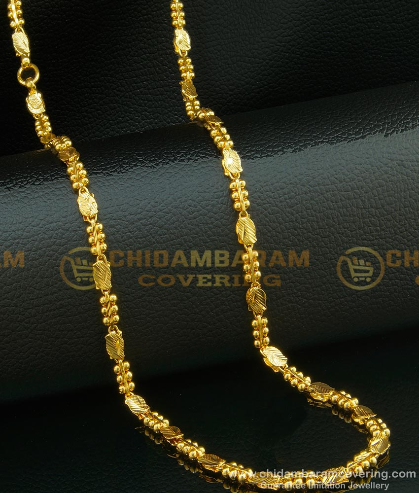 CHN095 - 24 Inches One Gram Gold Plated Party Wear Designer Chain for Girls