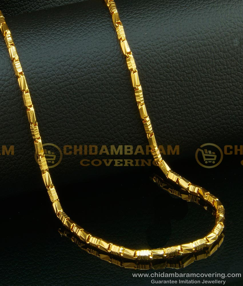 CHN108 - 24 Inches Gold Plated Daily Wear Kushi Box Shiny Cutting Flexible Chain Online