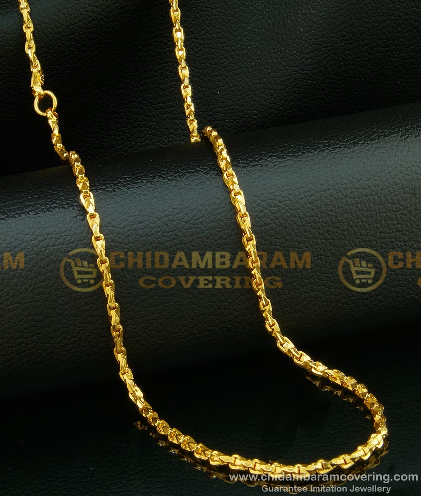 CHN109 - One Gram Gold Plated Anjali Cutting Model Gold Chain Design Daily Wear with Guarantee Chain Online