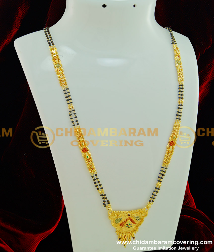 CHN118 - 30 Inches Forming Gold Plated Enamel Design Black Beads Long Mangalsutra for Women