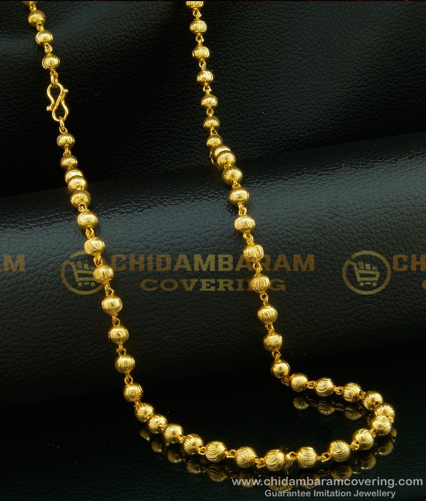 CHN122 - Traditional Light Weight Gold Balls C Cutting Gold Plated South Indian Chain Design Online