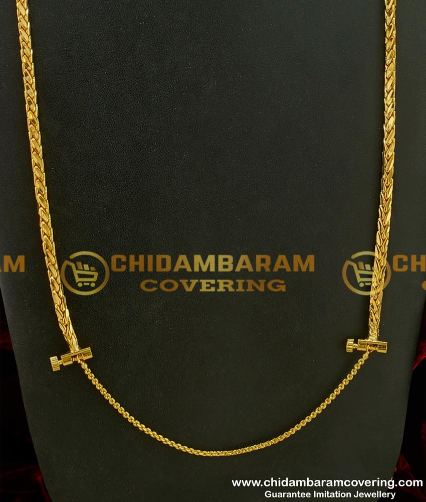 THN33-LG - 30 Inches Long Daily Wear Gold Design Thali Chain Design With Screw Connector Online
