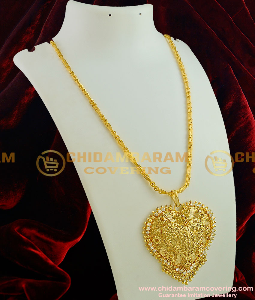 DCHN004 - Coimbatore Gold Plated Wheat Cutting Chain with Heartin White Stone Dollar