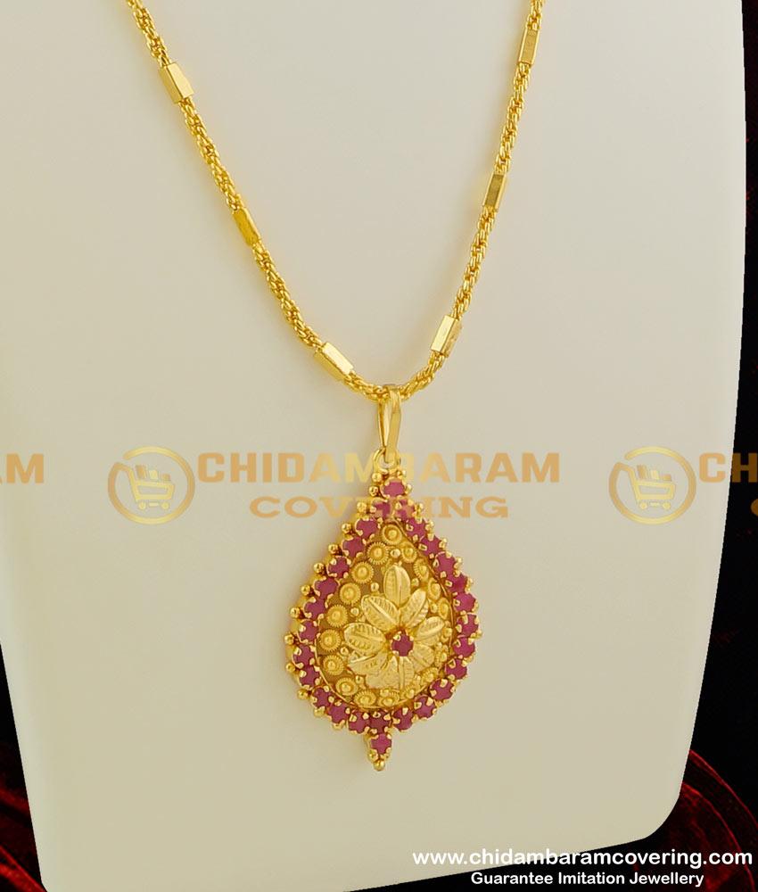 DCHN016 – Stylish Petal Shaped Ruby Stone Pendant with Kerala Chain