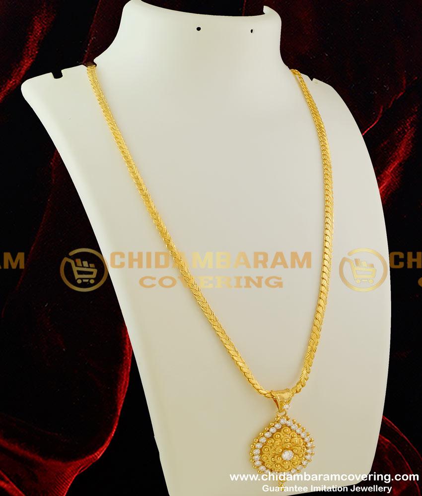 DCHN017 – Beautiful Petal Shaped White Stone Small Pendant with Beautiful Chain