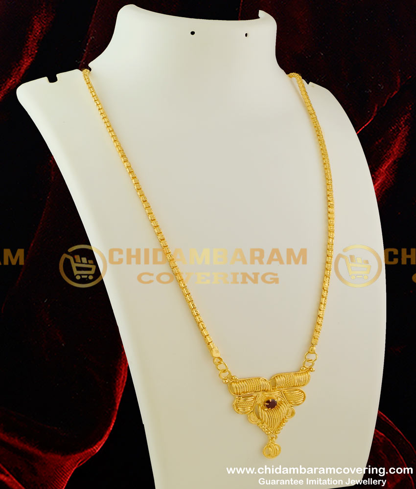 DCHN022 – Modern Spring Pendant with Single Ruby Stone and Chain for Regular Use