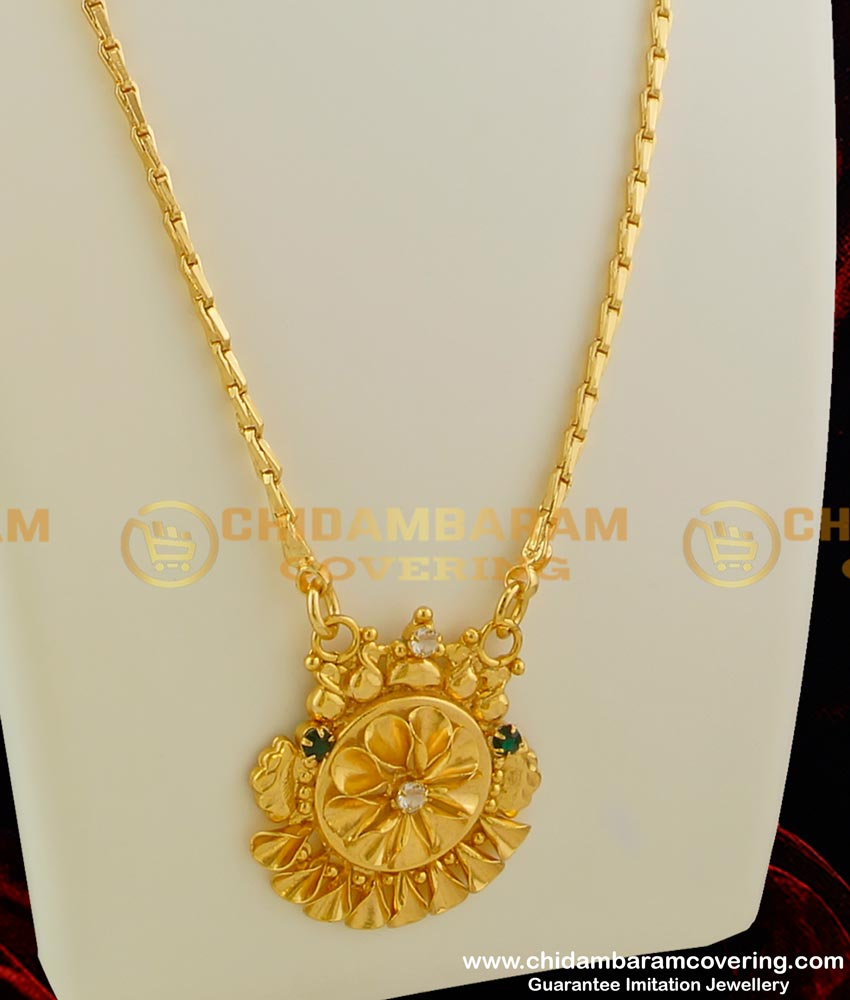 DCHN029 - Just Like Real Gold Dollar Chain Comes with Emerald Stone Dollar and Gobi Miller Cut Chain