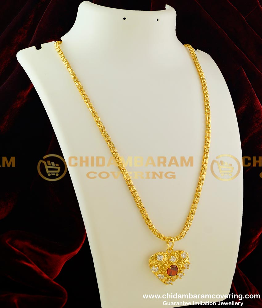 DCHN030 - Latest Heart Shaped Ruby and White Stone Pendant With Kerala Chain Buy Online
