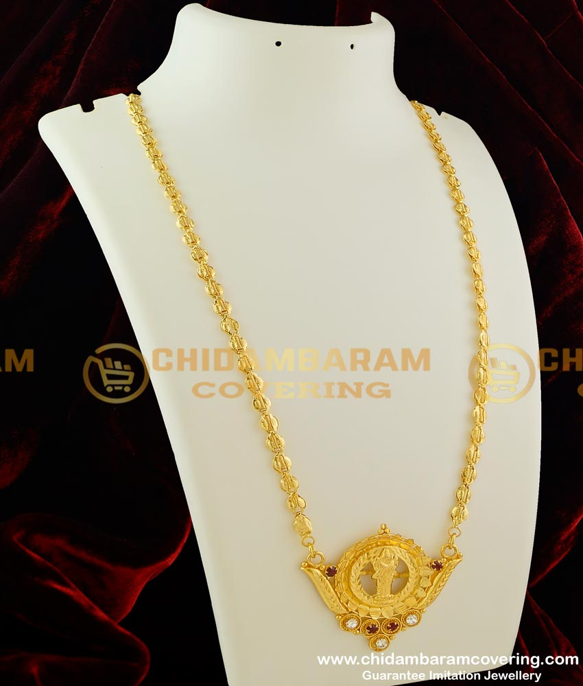 DCHN031 - Traditional Lakshmi Big Dollar with Double Colour Stone and Matching Chain Online