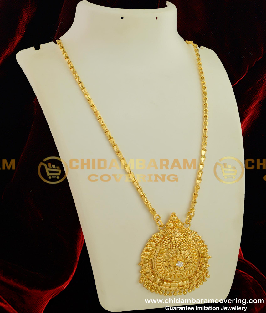 DCHN033 - Trendy Single Stone Big Pendant with Hanging Beads and Ramba Chain