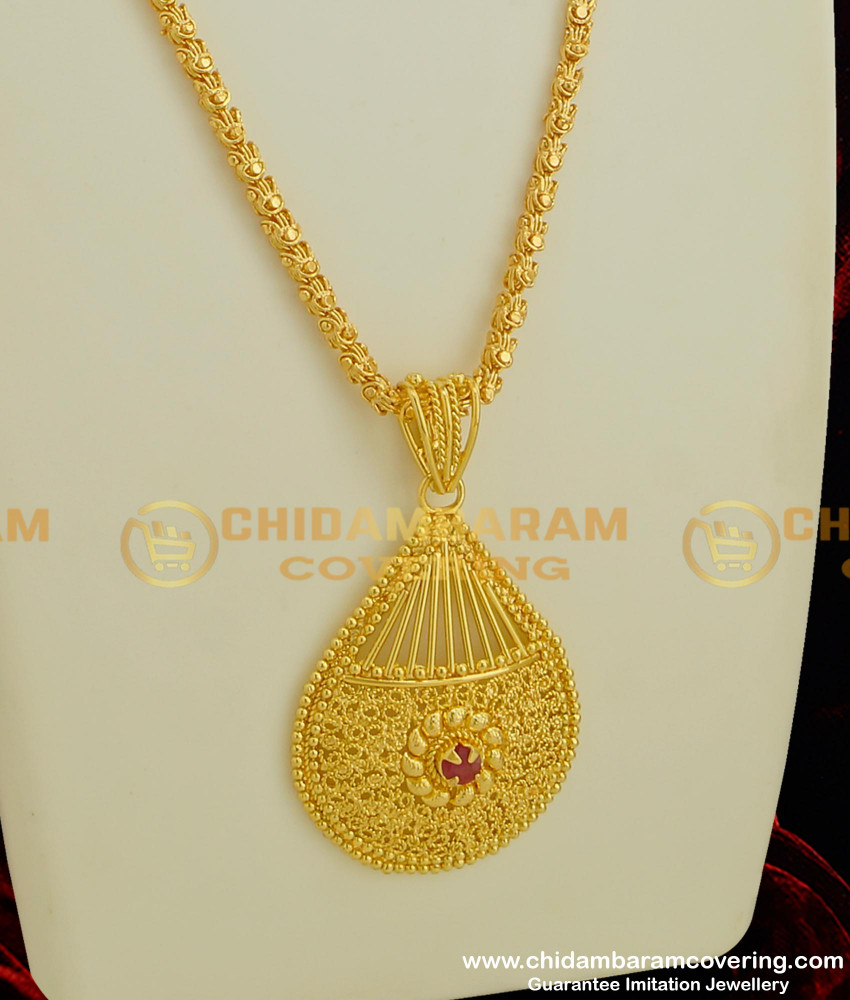 DCHN038 - Gold Style Heavy Ruby Stone Pendant with Jasmine Chain Online