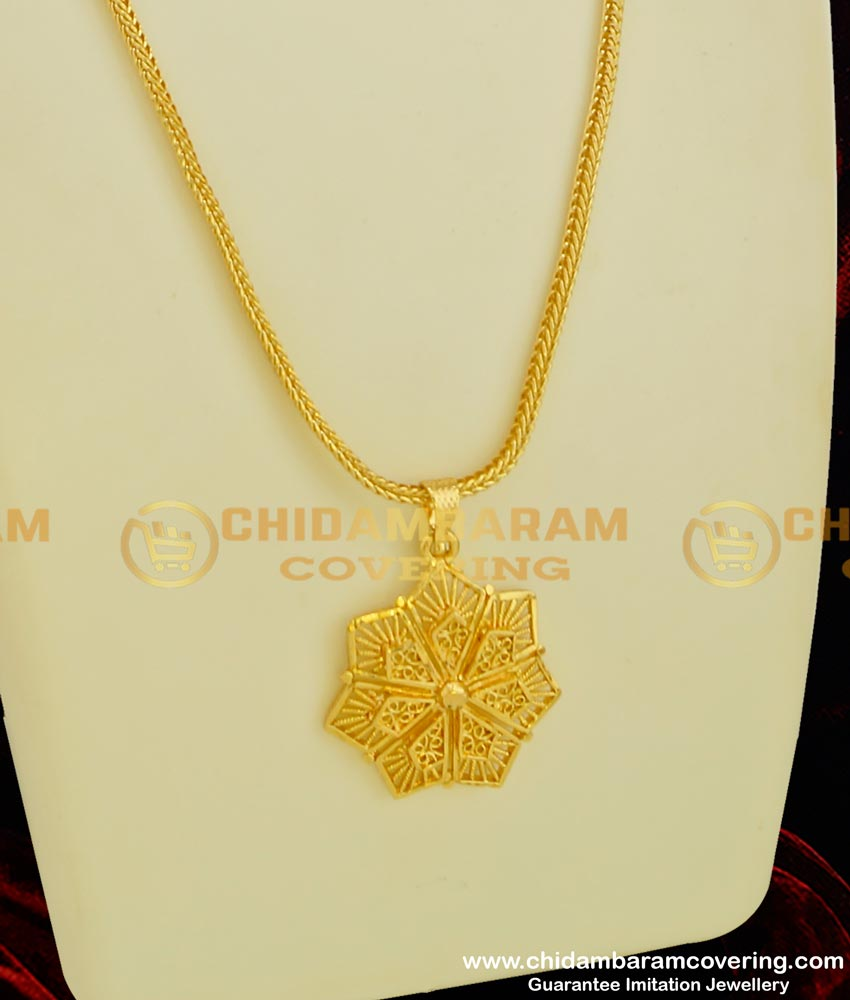 DCHN042 - Latest 3D Flower Design Gold Plated Pendant with Chain Buy Online