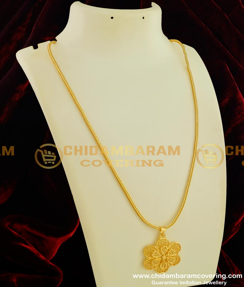 DCHN043 - Most Beautiful 3D Flower Pendant with Chain for Girls