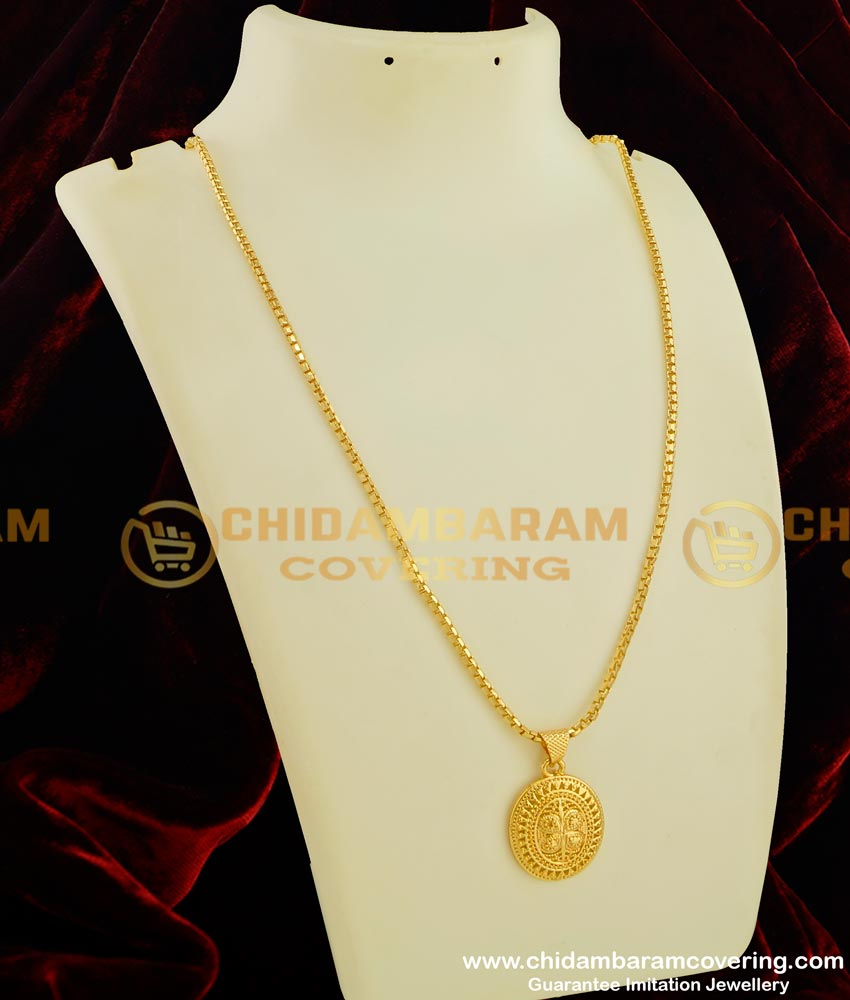 DCHN048 - Cute Daily Wear Gold Design Pendant with Long Chain Set Online