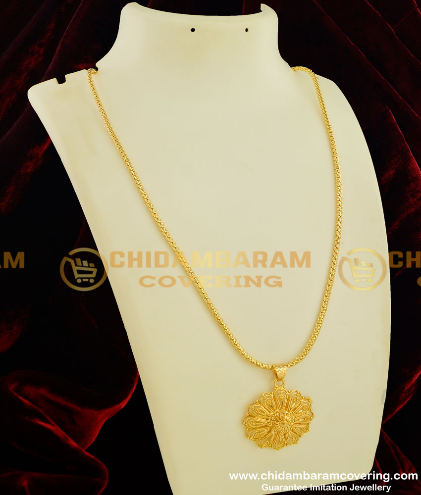 DCHN049 - 1 Gram Gold Flower Design Round Pendant with Chain Collections