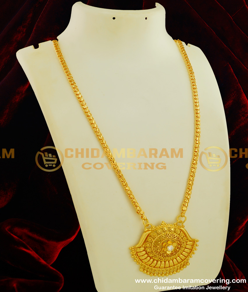 DCHN051 - One Gram Gold Traditional Handmade Single Stone Big Dollar with Chain Online