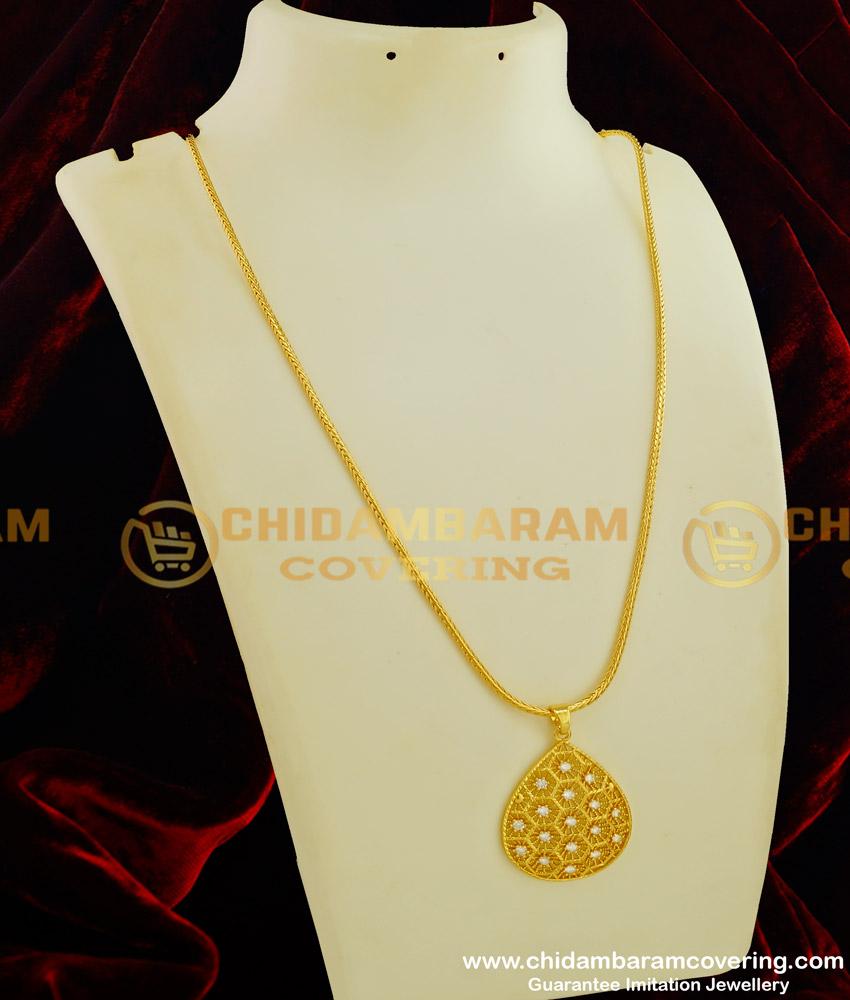 DCHN058 - Elegant Finish White Stone Flower Petal Shape Dollar with Chain for Girls