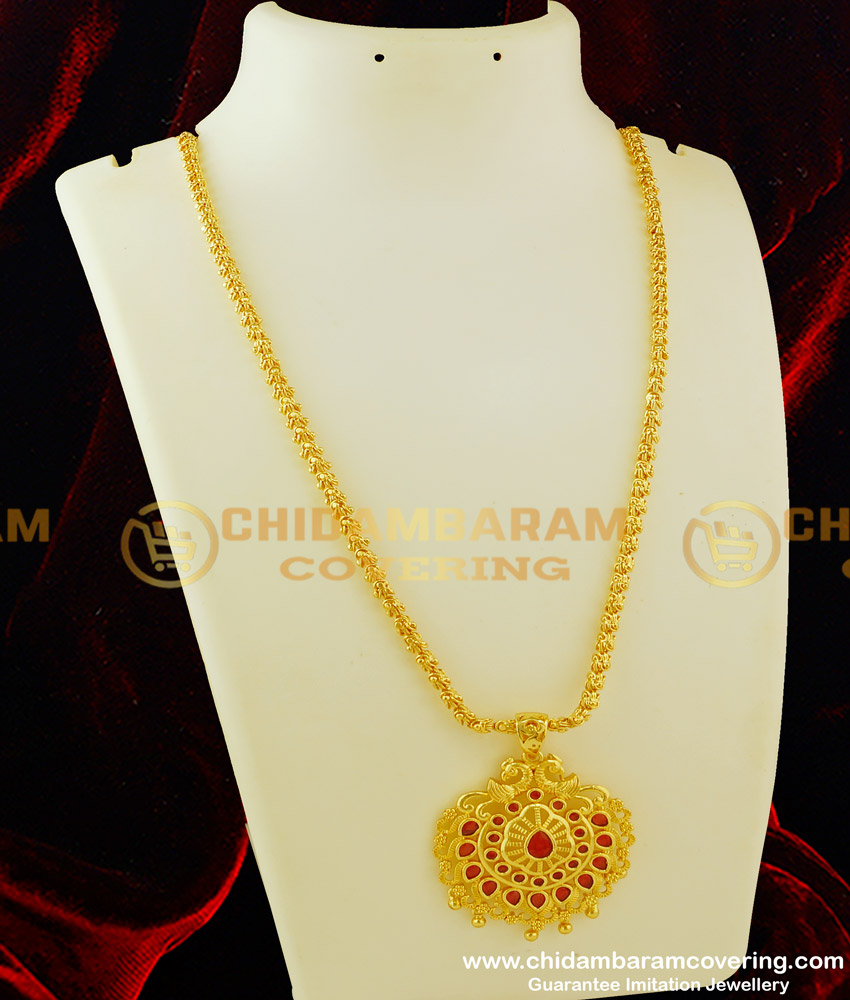 DCHN071 - Latest Party Wear Peacock Design Ruby Stone Pendant with Long Chain Buy Online
