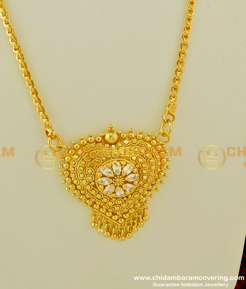 DCHN074 - Gold Dollar Design AD Stone Heart Shape Pendant with Long Chain Buy Online