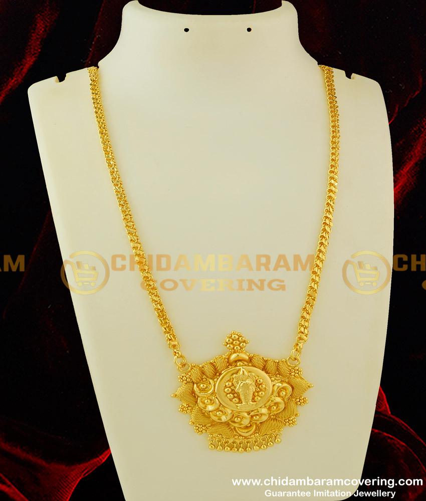 DCHN077 - Traditional Dollar Collection Lakshmi Design Pendant Gold Design Chain Buy Online