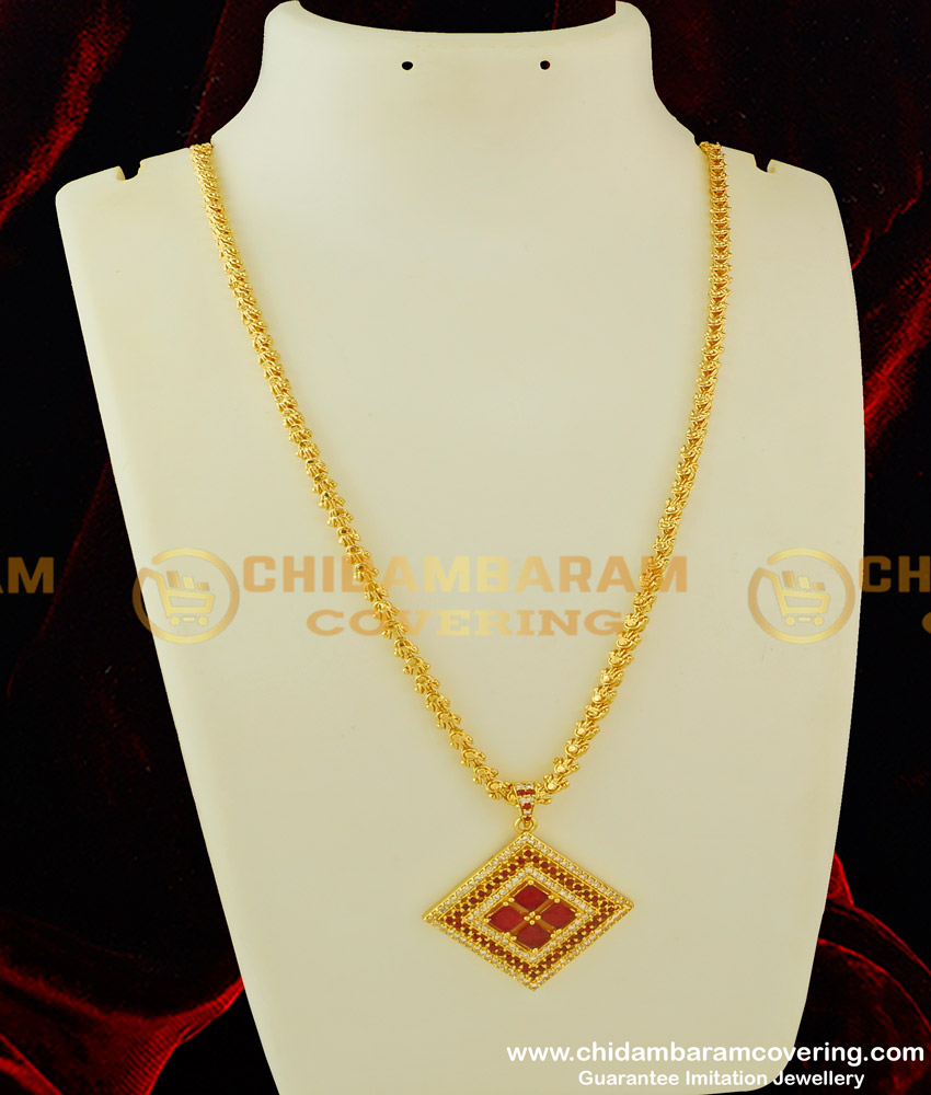 DCHN082 - New Model High Quality CZ Stone Pendant with Long Chain Latest Pendant Collections