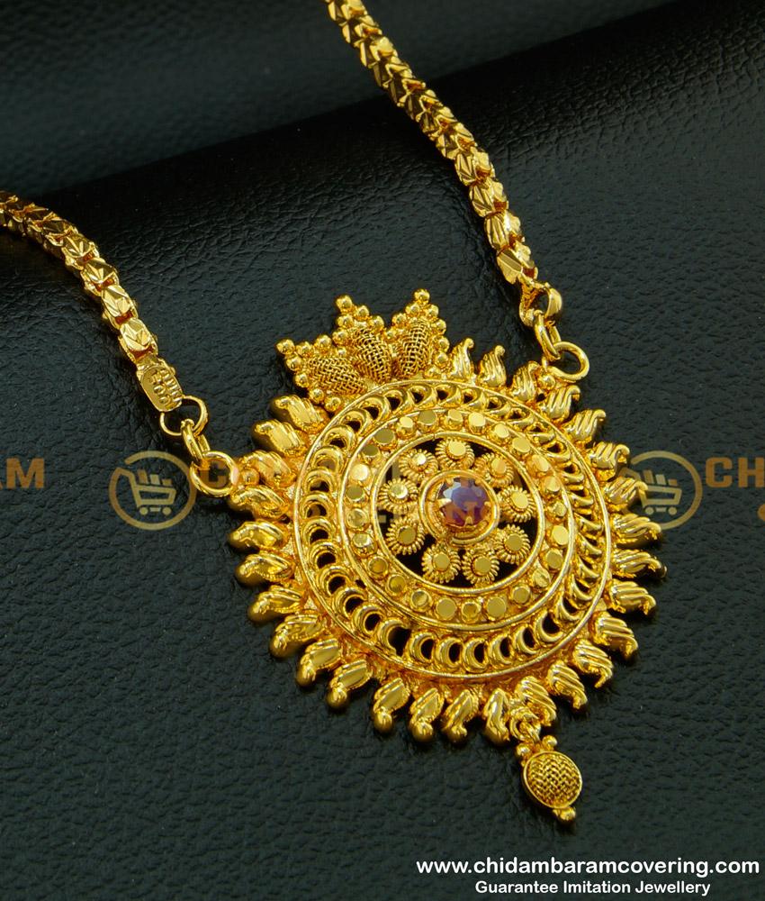DCHN091 - Chidambaram Gold Plated Box Chain with Handmade Single Ruby Stone Big Dollar Buy Online